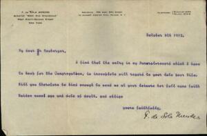 1912 Letter F. De Sola Mendes