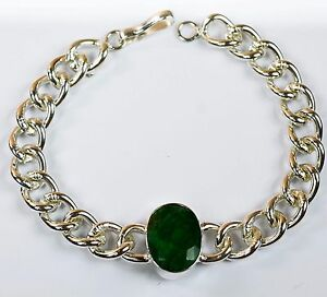 Men-039-s-Fashion-Stainless-Steel-Natural-Emerald-Gemstone-Bracelet-IN-37