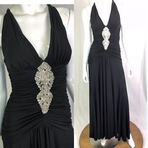 051d0a28d015 $350 Vintage Cache Women's 4 Black Jersey Ruched Bearded Maxi Dress ...