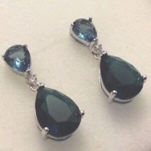 P-Designer-smokey-blue-sapphire-pear-drop-white-gold-gf-earrings-Plum-BOXED