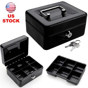 Mini Cash Box Portable Steel Locking Safe Box Removable Money Tray Black