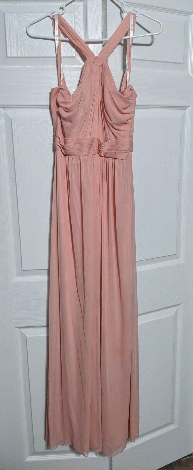 David's Bridal Y-Neck Long Mesh Ballet Dress Sz 6 Style W11173