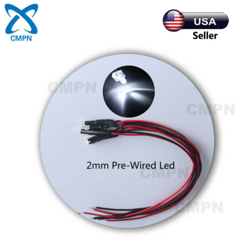 20Pcs 2mm White Pre-Wired Round Top Water Clear Light DC 9-12v LED Diodes 20CM