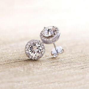 Sterling-Silver-amp-Cubic-Zirconia-Round-Halo-Pave-Bridal-Stud-Earrings