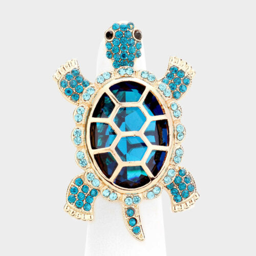 Cocktail Ring Turtle Rhinestone Pave Crystals Wide Stretch Evening Sea Life BLUE