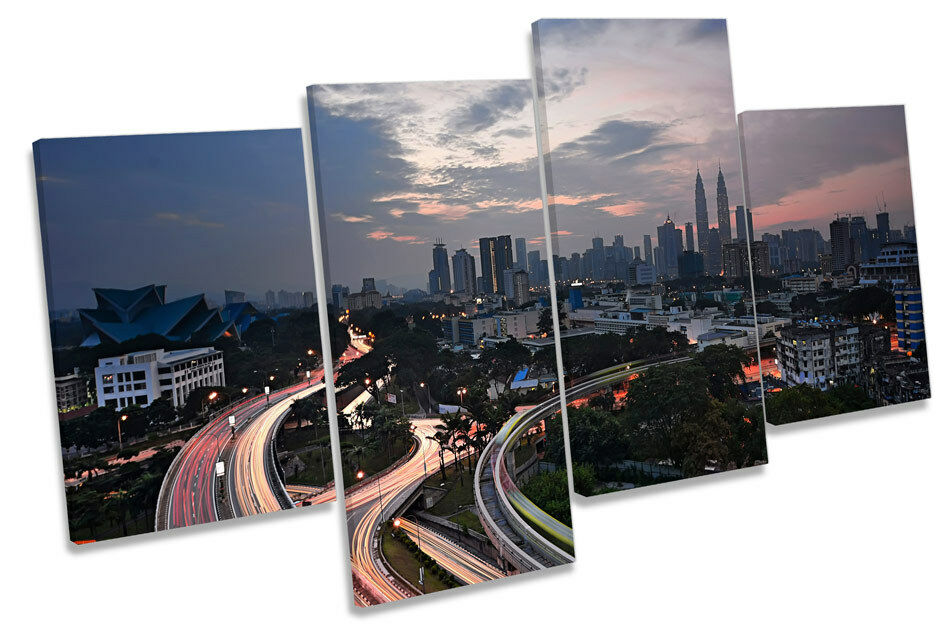 Kuala Lumpur horizonte Lona de la ciudad Lona horizonte Pared Arte Cuadro Enmarcado de múltiples 72fce2