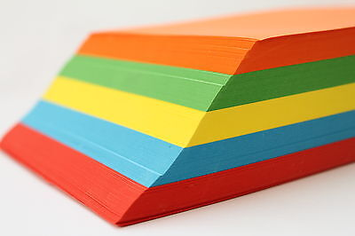 A5 OR A4 SMOOTH ASSORTED 160gsm COLOURED CARD 250 SHEETS INKJET /& LASER PRINTER