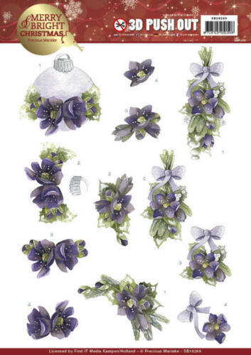 BOUQUETS IN PURPLE PRECIOUS MARIEKE 3D PUSH OUT DECOUPAGE FOR CARDS /& CRAFTS