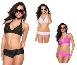 LA-TUA-MODA-Bikini-alta-qualita-donna-triangolo-fiori-hippie-culotte-strass-DD