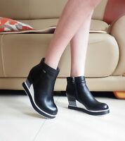 Women's Ladies Wedge High Heel Platform Zip Leather Black Ankle Boots Size 5-8.5