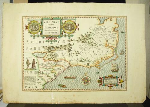 Karte der Florida D\' Ap Hondius Henricus C1900 Map von Florida USA ...