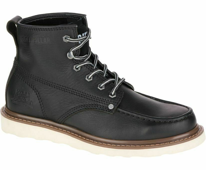 Caterpillar Glenrock Mid Mens Black Biker Riding Lace Up Ankle Boots