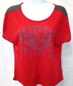 San-Francisco-49ers-Football-Ladies-Shirt-Red-New