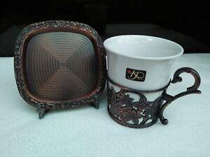 Designer-KAREN-PEACOCK-Unique-CUP-amp-SAUCER-Copper-Turkish-Style-Collection-5Sets
