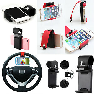 Cell-Mobile-GPS-Car-Steering-Wheel-Mount-Socket-Holder-iPhone-Samsung-Universal