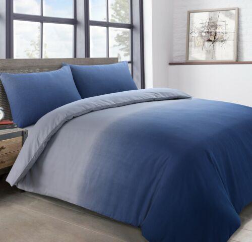 Pack de deux bleu effet vieilli à rayures /& Ombre Housse de couette et taie d/'oreiller Ensembles De Literie