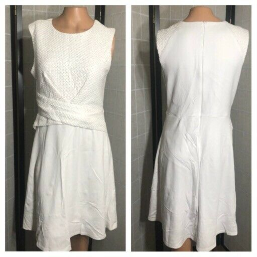 ebf54c42a7 Bailey 44 Women's White sleeveless Crotchet Skater Dress Size Large ...