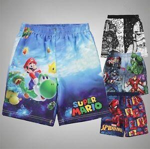 Enfants-Garcons-de-marque-CARACTERE-Elegant-Imprime-Board-Shorts-Maillots-de-bain-Taille-2-13-Ans
