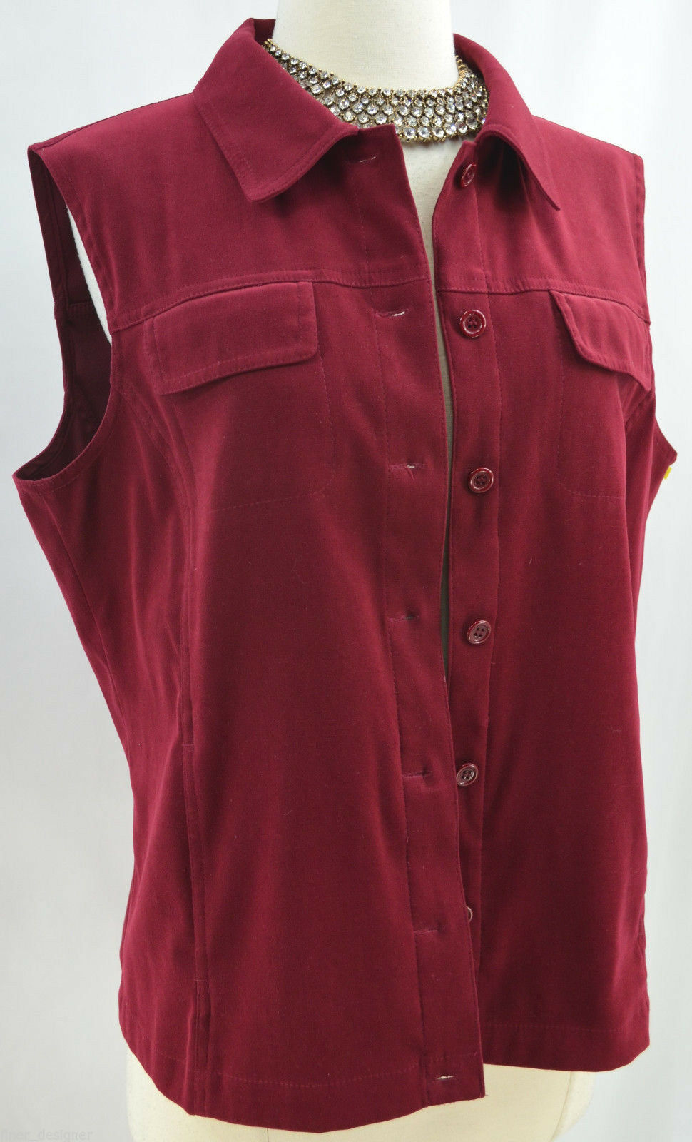 Talbots stretch vest top button sleeveless blouse shirt micro suede cranberry M