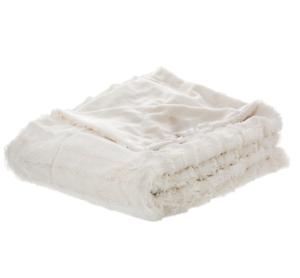 Furry Throw Blanket Cute Fluffy Women Men Faux Fur Reversible White ... eae6a42281