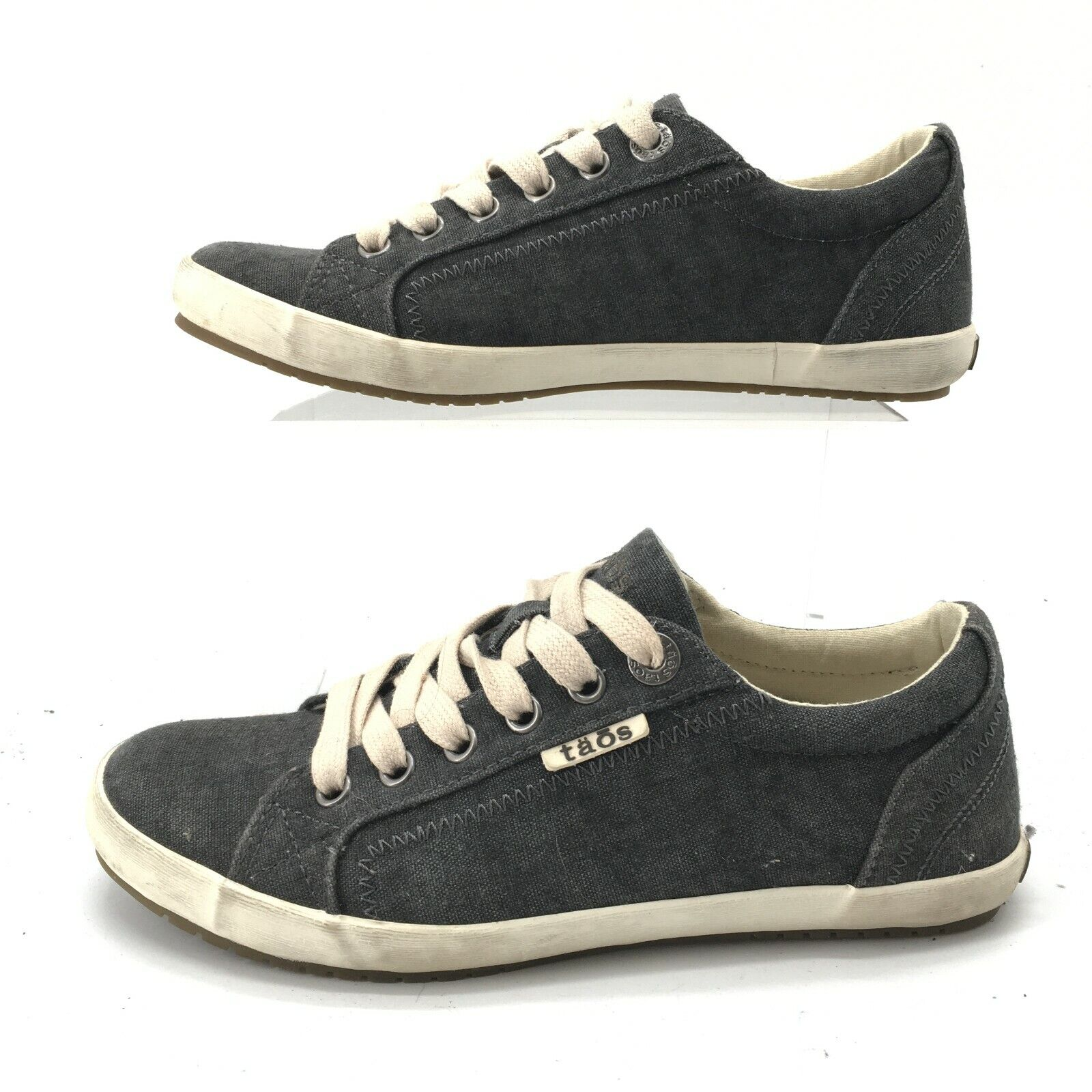 Taos Womens 6 Star Casual Low Top Sneakers Blue Canvas Lace Up Comfort Shoes