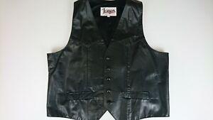 Vintage-Diamond-Leathers-46-Waxed-Leather-Waist-Coat-Vest-Biker-Cowboy-USA-Z2