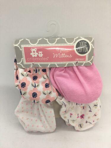 Cribmates 4-pair mittens scratch mitts Pink white baby CM78227