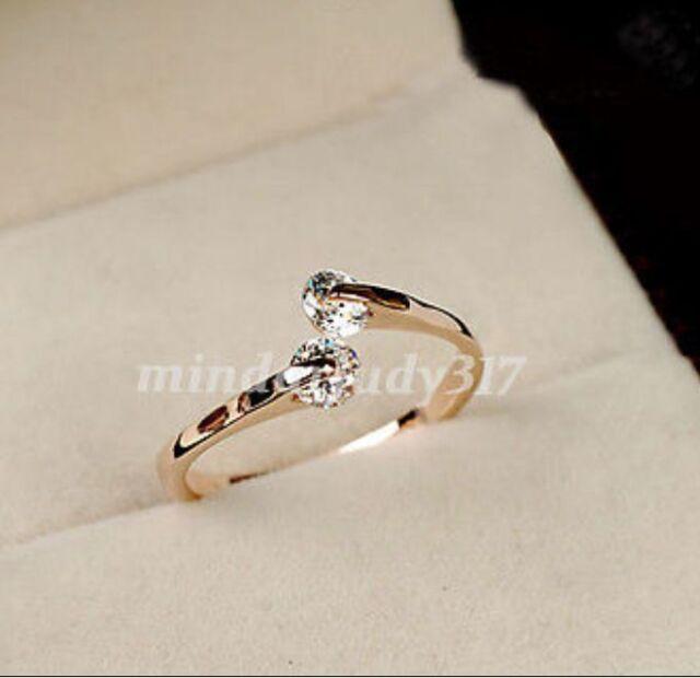 Fashion Women 18K Rose gold GP  Engagement Ring Size 6,7,8,9