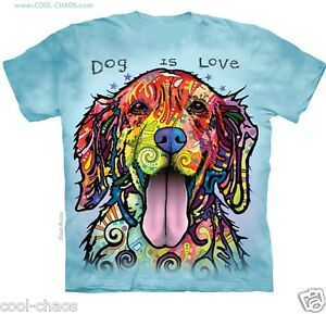59510b64288 Dog Love T-Shirt  Blue Rainbow Tie Dye Tee Dogs Golden Retriever ...