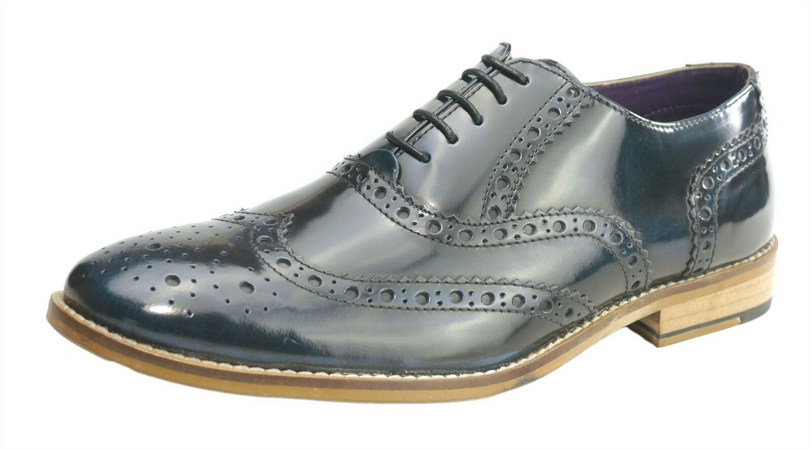 Frank James Newman uomo brillanti in pelle da uomo Newman in pizzo all'inglese Brogues Navy Shine 43eb96