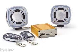 Alarme-lecteur-MP3-Radio-FM-USB-SD-scooter-moto-MBK-Booster-Spirit-Bws-Bw-039-s-NEUF