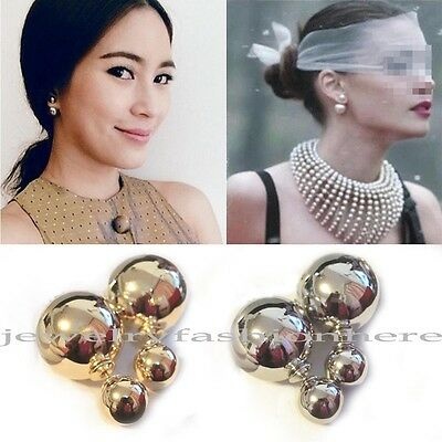Stunning European Imitation Double Mirror Pearl Gold/Silver Ear Stud Earrings HG