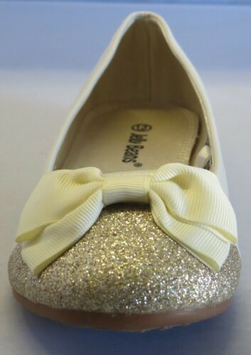Jelly Bean Girl Suede Flats w//Glitter /& Bow Youth Flower Girl Dress Shoes GIRO