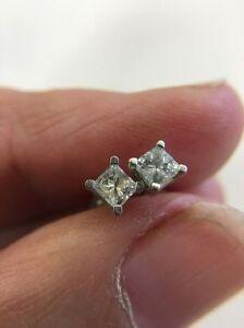 1.00 Karat Solitaire Prinzessin Diamantschliff Ohrringe 14Kt Echt Weißgold