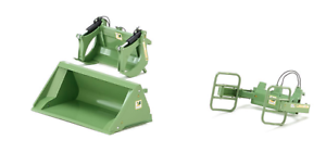 WIKING 1 32 SCALE FRONT LOADER ATTACHMENT SET 3 ATTACHMENTS FENDT GREEN