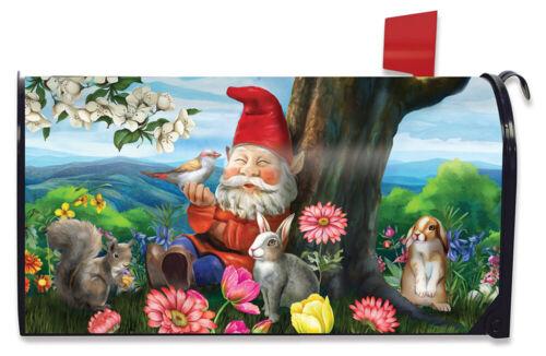 Garden Gnome Spring Magnetic Mailbox Cover Birds Standard Briarwood Lane