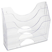 Rubbermaid Three-pocket File Folder Organizer Plastic 13 X 3 1/2 X 11 1/2 Clear on sale