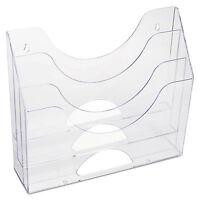 Rubbermaid Three-pocket File Folder Organizer Plastic 13 X 3 1/2 X 11 1/2 Clear on sale