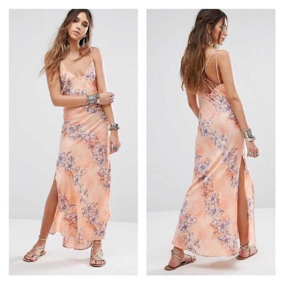 NwoT Free People Intimately Cassie Girl Maxi Slip Dress Sz M