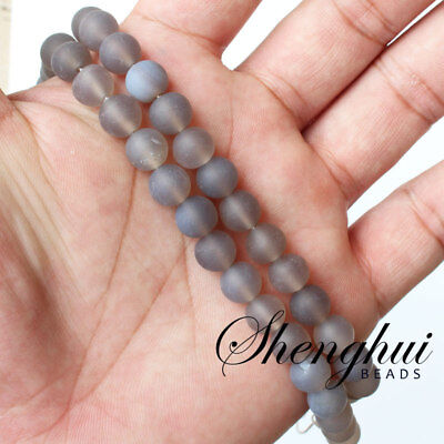 4-12mm Natural Frost Matte Grey agate Stone Round Spacer Loose Beads 15/""
