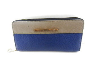abbe4496db MARC BY MARC JACOBS TAN & COBALT BLUE ZIP AROUND LEATHER CONTINENTAL ...