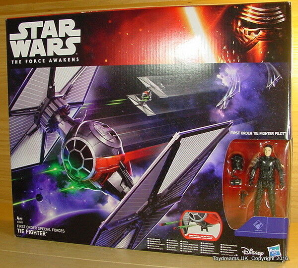 STAR WARS IMPERIAL TIE Fighter First Order Special Forces Space Ship + Pilot MIB