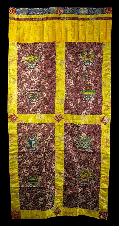 Tapiz de puerta tibetano brocade burdeos bordado budista 188x90cm 25710