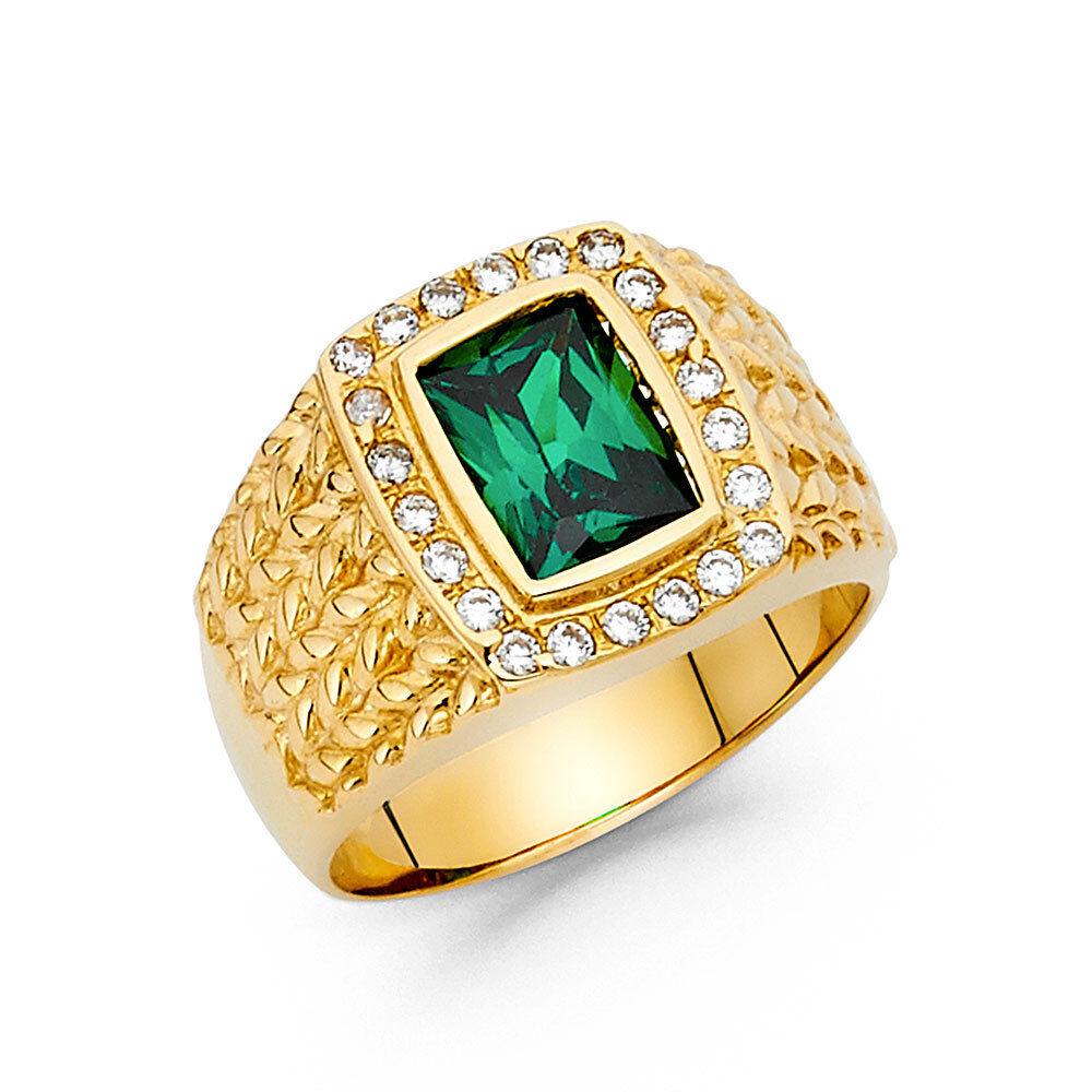 Men's 15mm 14K Solid Yellow gold Green Cubic Zirconia Ring