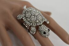 New Women Silver Ring Metal Elastic Fashion Turtle Antique Rhinestones One Size