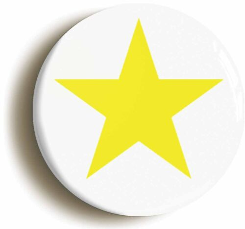 YELLOW STAR BADGE BUTTON PIN Size is 1inch//25mm diameter