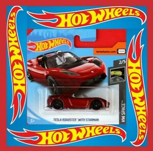 Hot-Wheels-2019-039-08-Tesla-Roadster-with-star-hombre-neu-amp-ovp