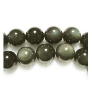 Packet-5-x-Black-Dark-Green-Rainbow-Obsidian-10mm-Plain-Round-Beads-VP2270
