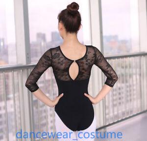Adult Ladies Lace Ballet Gymnastics Tight Dance Bodysuit Leotard 3//4 Long Sleeve