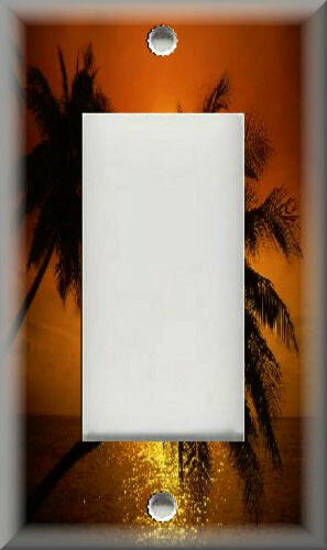 Metal Light Switch Plate Cover Sunset Beach Palm Trees Decor Tropical Decor